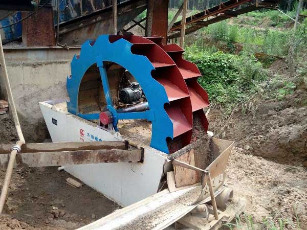 wheel type sand washing machine working
