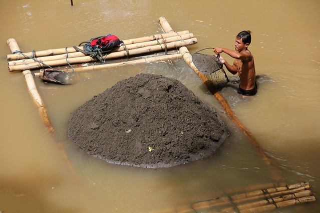 river sand mining in Jalan Jaya, Central Java, Indonesia
