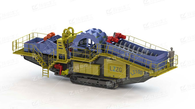 Track-mounted sand washing and dewatering plant